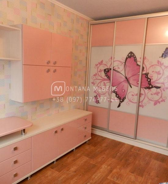 Розовая мебель в детскую комнату для девочки фото, шкафы-купе Буча, Ворзель, Ирпень