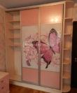 Розовый шкаф-купе с рисунком фото, фасад фотопечать Белая Церковь, Буча, Ирпень
